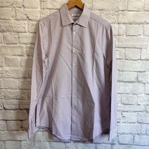 CALVIN KLEIN Men's Purple Square Print Button Down Shirt Slim Fit